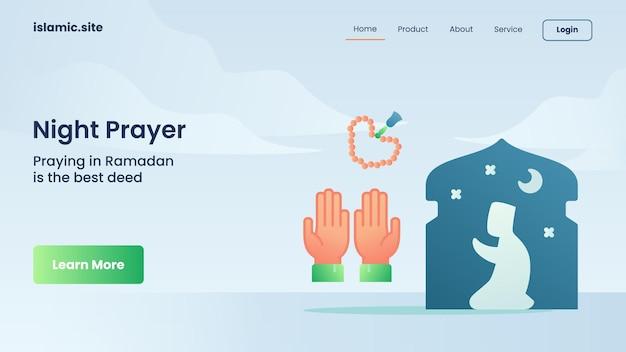 Oração noturna para pouso de modelo de site ou design de página inicial