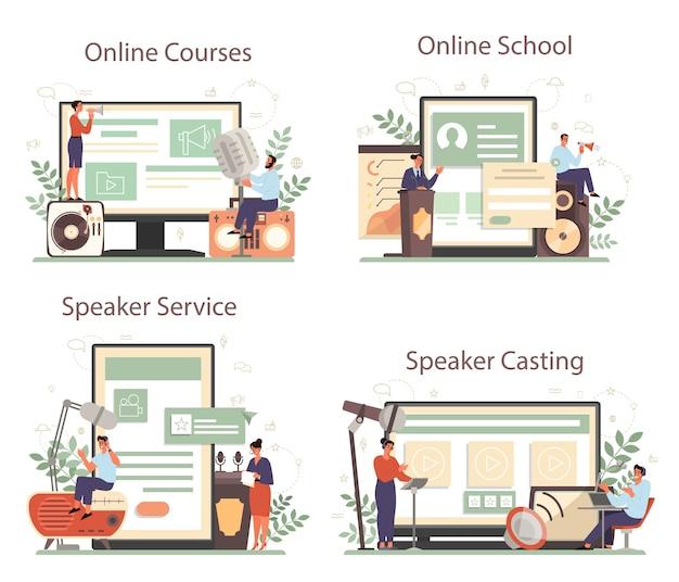 Orador profissional, comentarista ou serviço online de locutor ou conjunto de plataforma