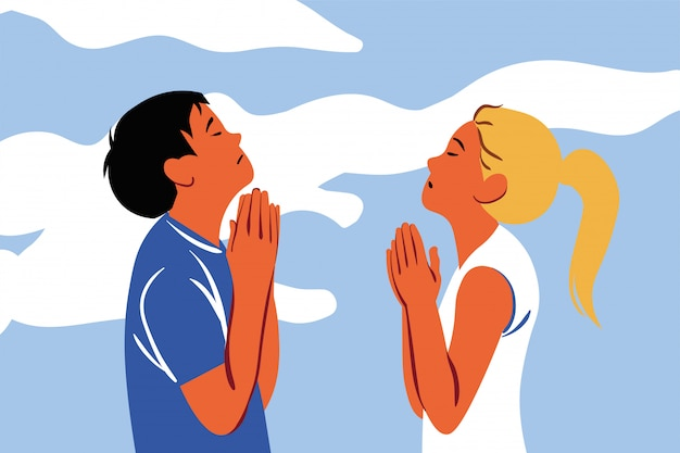 Orando, deus, religião, casal, cristianismo, pedido, conceito de fé