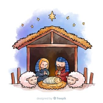 Orando, família, natividade, fundo