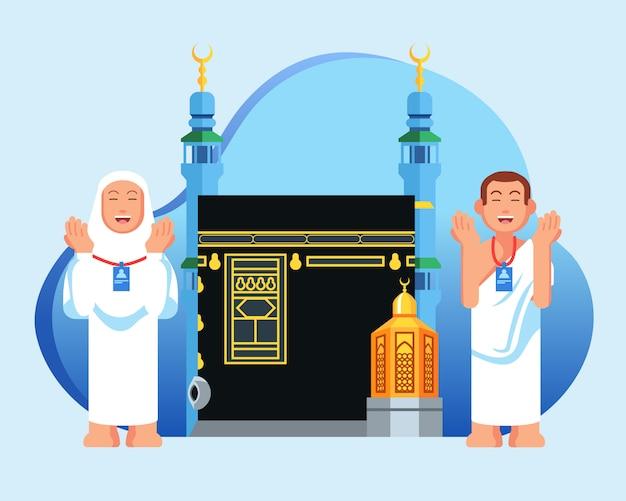 Orando hajj peregrino peregrino personagem na frente de maqam ibrahim e kaaba