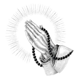Orando, mão, desenho, vindima, isolado, branco, fundo