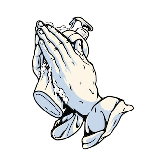 Orando mãos com ilustração gráfica de desinfetante para as mãos