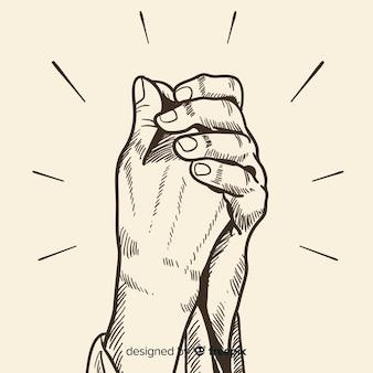 Orando mãos fundo