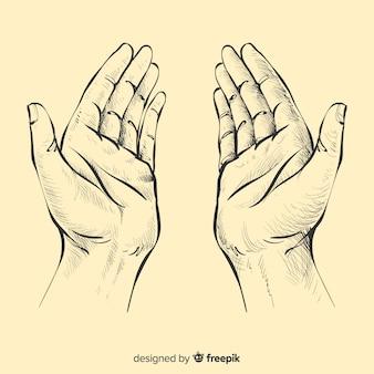 Orando mãos fundo Vetor Premium