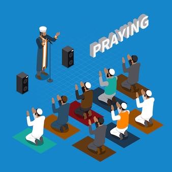 Orando na composição isométrica do islã