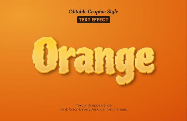 Orang fruit 3d, efeito de texto editable graphic style