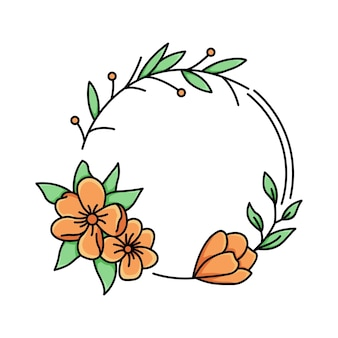 Orange flower frame monoline