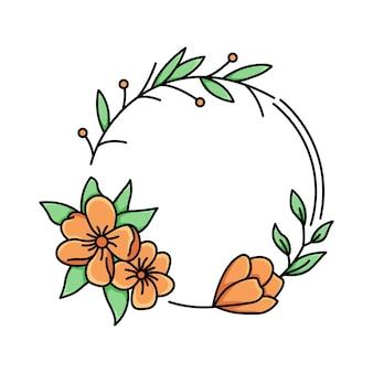 Orange flower frame monoline Vetor Premium