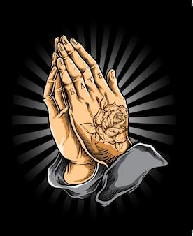 Orar, mão, vetorial