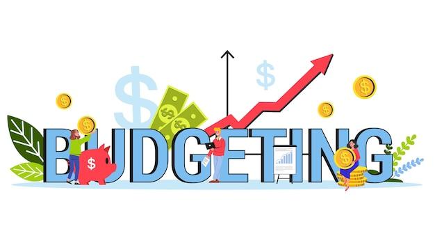 Orçamentando o conceito de banner de palavra única. ideia de financeiro