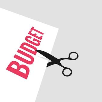 Orçamento de corte de tesoura, redução de custos, ilustração de conceito de negócio de otimização de custos