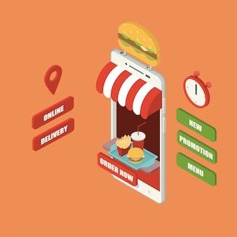 Ordem de fast-food on-line e conceito de entrega