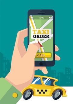 Ordem de táxi. mão de transporte urbano segurando o smartphone