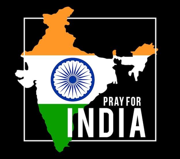 Ore pela índia. bandeira da índia com ilustração do texto reze pela índia