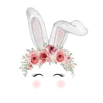 Orelha de coelho da páscoa em aquarela com coroa de girassol