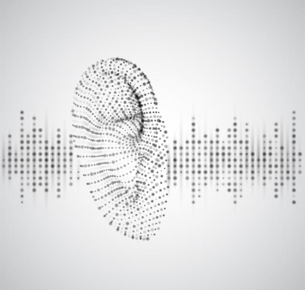 Orelha de vetor de pontos e círculos. destaques e manchas. música