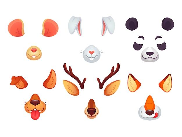 Orelhas de animais engraçados, língua e olhos.