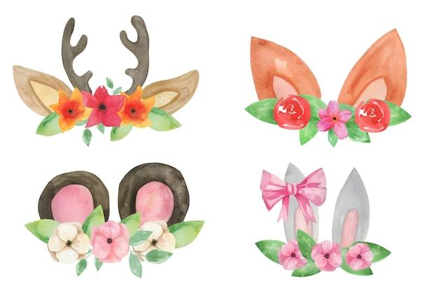 Orelhas de animais fofos da floresta com flores.