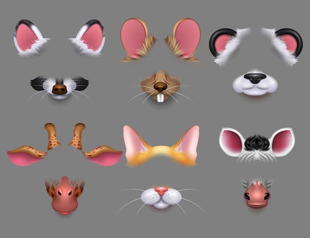 Orelhas de animais fofos e filtros de efeito de vídeo nariz. animais engraçados enfrenta máscaras para conjunto de telefone celular