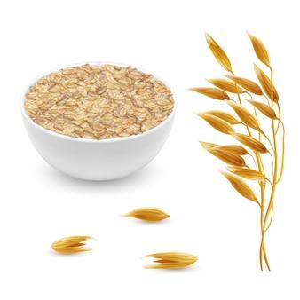 Orelhas de aveia realista 3d, grãos com tigela branca. planta detalhada de cereais