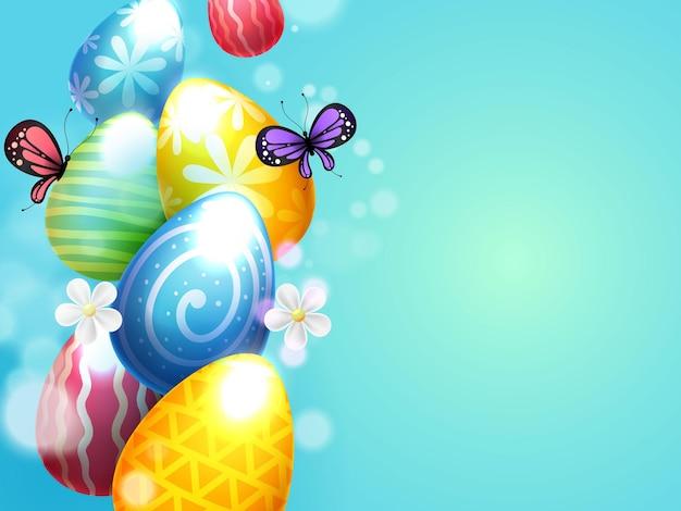 Orelhas de coelhinho da páscoa com ovos de páscoa e borboletas Vetor Premium