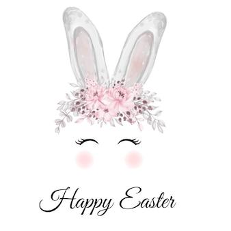 Orelhas de coelho da páscoa em aquarela com coroa de flor rosa