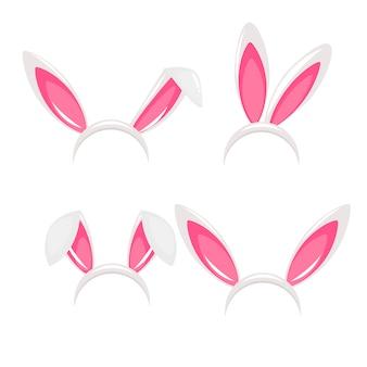 Orelhas de coelho e máscara de carnaval de nariz para uma foto