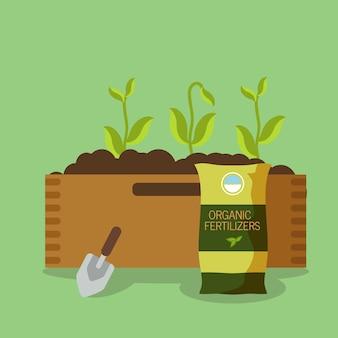 Orgânica, ilustração em vetor de fertilizante de plantas de eco