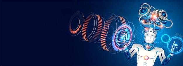 Organismo cibernético robótico trabalha com um hud virtual.