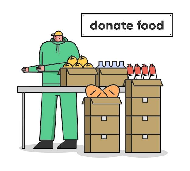 Organização de caridade e voluntário do conceito de doação de alimentos