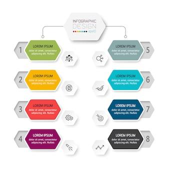 Organização de design hexágono, infográfico de 8 etapas.
