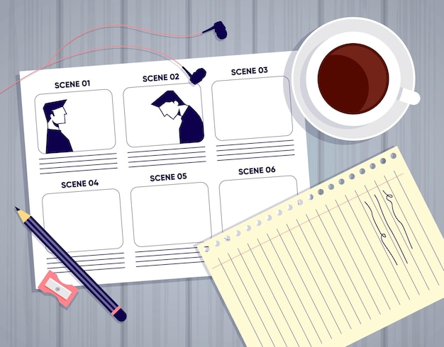 Organização de elementos de conceito de storyboard