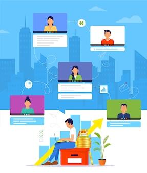 Organização de um fluxo de trabalho ou treinamento pela internet