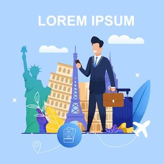 Organização de viagens de negócios de ilustração de banner