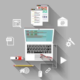 Organização do local de trabalho do financista e gerente com laptop, navegador, gráfico e óculos