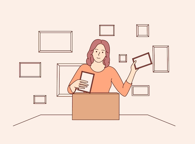 Organização e armazenamento de documentos e fotos de memória em casa. mulher separando arquivos antigos da família com fotos.