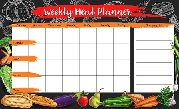 Organizador de plano alimentar semanal com esboço de fazenda e produtos de carne com padaria