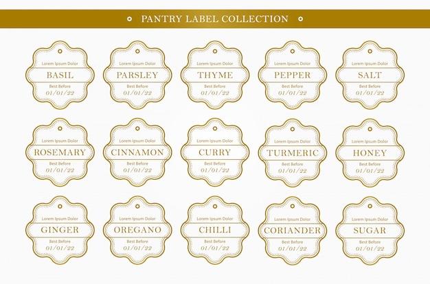 Organizador de rótulo de despensa de tempero de cozinha na coleção conjunto de cor ouro