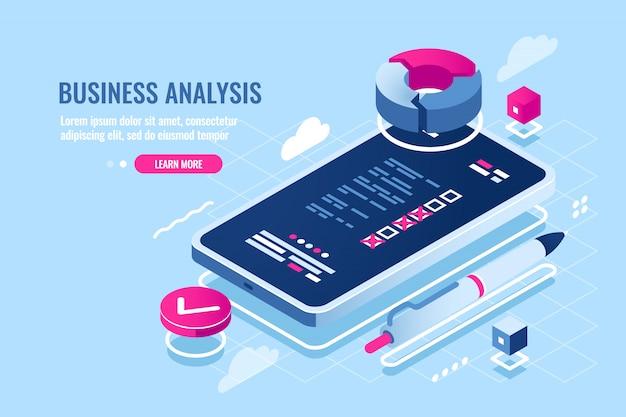 Organizador on-line na aplicação do telefone móvel, lista de verificação na tela do smartphone, lista de tarefas
