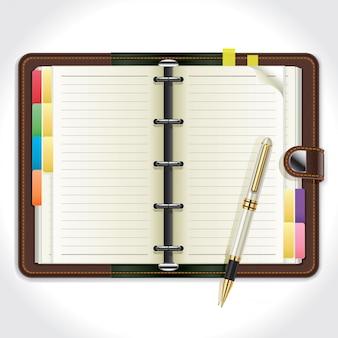Organizador pessoal com caneta.