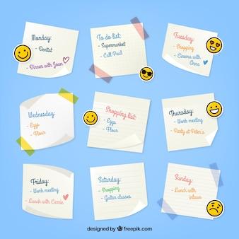 Organizador semanal com emoticons