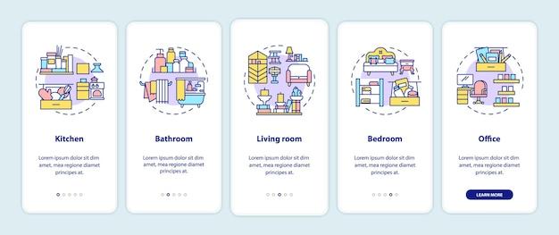 Organizando áreas de integração da tela da página do aplicativo móvel com conceitos. locais em casa para limpar instruções gráficas passo a passo 5 etapas. modelo de interface do usuário com ilustrações coloridas rgb