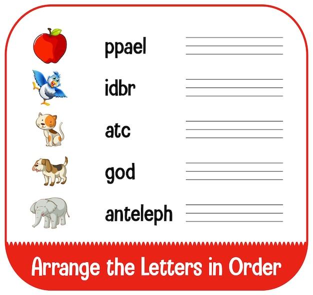 Organize as letras em ordem com fotos