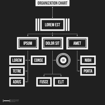Organize o modelo do gráfico com elementos geométricos no fundo preto. útil para apresentações científicas e empresariais.