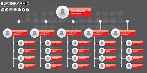 Organograma corporativo com ícones de pessoas. ilustração vetorial