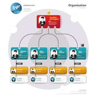 Organograma, estrutura de coporate, fluxo de organização