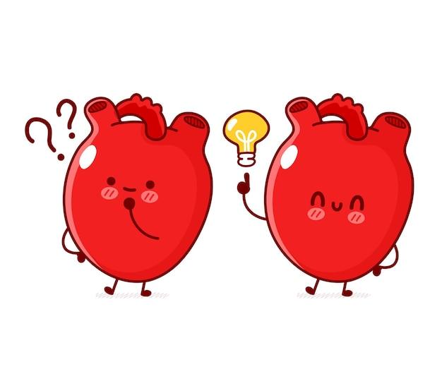 Órgão de coração humano engraçado fofo com ponto de interrogação e lâmpada de ideia