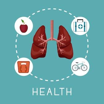 Órgão de pulmões no centro com ícones em torno de texto de saúde