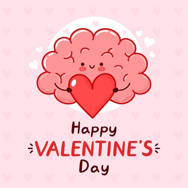 Órgão do cérebro engraçado bonito segurando o coração. feliz dia dos namorados cartão.